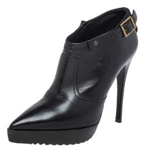 Burberry Black Leather Pointed Toe Booties Size 36