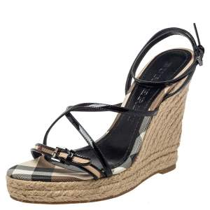 Burberry Black Canvas And Patent Leather Wedge Sandals Size 40
