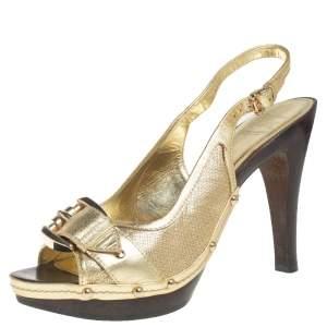Burberry Metallic Gold Leather Platform Peep Toe Sandals Size 40