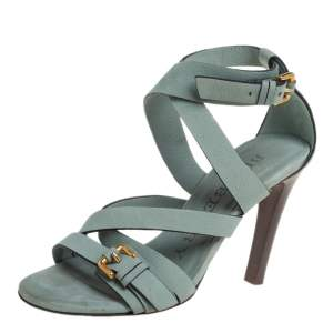 Burberry Chalk Green Nubuck Leather Aviator Ankle Strap Sandals Size 37