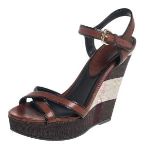 Burberry Brown Leather Whelan Wedge Sandals Size 40.5