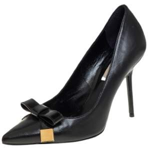 Burberry Black Leather And Patent Bow Detail Pointed Toe Pumps Size 37.5
