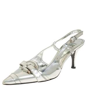 Burberry Silver Patent Leather Slingback Sandals Size 39