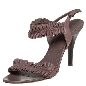 Burberry Brown Leather Ruffle Sandals Size 37