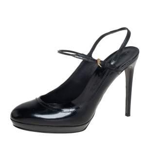 Burberry Black Patent Leather Slingback Platform Sandals Size 40
