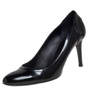 Burberry Black Patent Leather and Coated Canvas Pumps Size 40