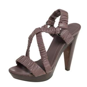 Burberry Dark Beige Leather Scrunch Cross Strap Sandals Size 38.5