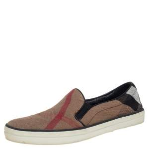 Burberry Brown Nova Check Canvas Slip On Sneakers Size 38