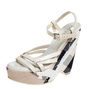 Burberry White Leather Ankle Strap Wedge Platform Sandals Size 36