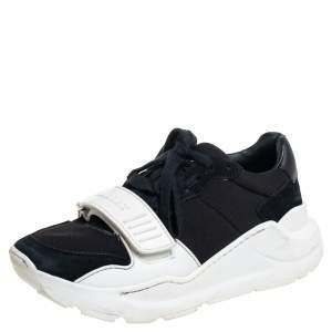 Burberry Black Neoprene And Suede Regis Low Top Sneakers Size 36
