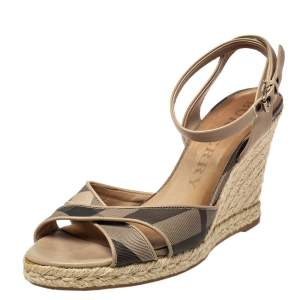 Burberry Beige/Black Coated Canvas And Leather Ankle Strap Espadrille Wedges Sandals Size 40