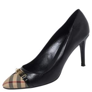 Burberry Black Nova Check Canvas and Leather Buckle Pumps Size 40