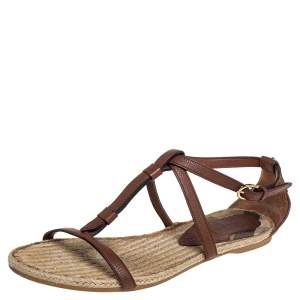 Burberry Brown Leather Espadrille Flats Size 40.5