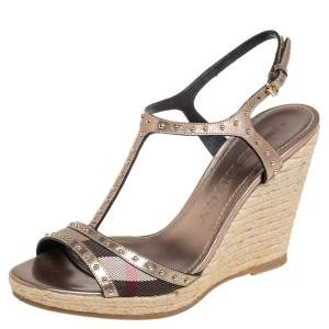 Burberry Metallic Bronze Leather And Nova Check Canvas Espadrille Wedge Ankle Strap Sandals Size 40