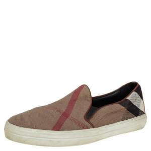 Burberry Brown Nova Check Canvas Slip On Sneakers Size 40