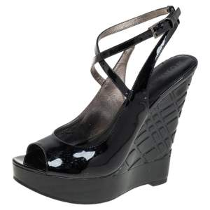 Burberry Black Patent Leather Strappy Wedge Sandals Size 36
