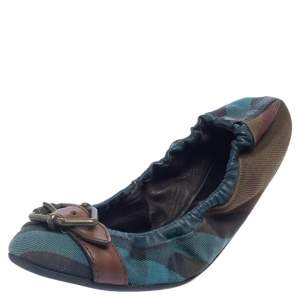 Burberry  Multicolor Check Canvas and Leather Scrunch Ballet Flats Size 38