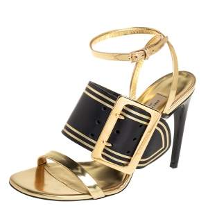 Burberry Black/Gold Leather Buckle Padstow Festive Ankle Strap Sandals Size 37