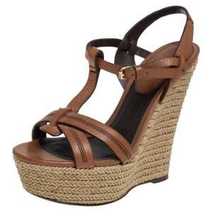 Burberry Tan Leather Espadrille Platform Wedge Ankle Strap Sandals Size 36