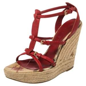 Burberry Red Leather Espadrille Wedge Ankle Strap Sandals Size 37