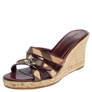 Burberry Burgundy Patent Leather And Nova Check Canvas Espadrille Wedge Sandals Size 37