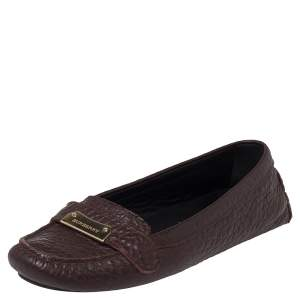 Burberry Brown Leather Rowles Loafers Size 37