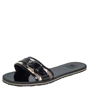 Burberry Black/Cream Check Canvas And Patent Leather Buckle Embellished Flat Sandals Size 37