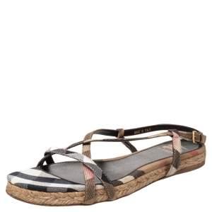 Burberry Multicolor Check Canvas Espadrille Flat Slingback Sandals Size 38