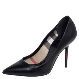 Burberry Black Leather Pointed Pumps Size 35