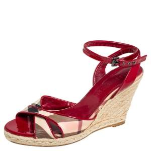 Burberry Red/Beige Nova Check Canvas and Patent Leather Cross Strap Espadrille Wedge Sandals Size 39.5