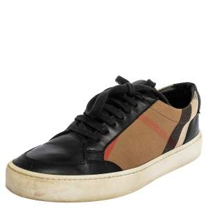 Burberry Black/Beige Nova Check Canvas and Leather Low Top Sneakers Size 38