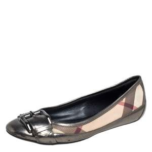 Burberry Beige/Metallic Leather And Coated Canvas Nova Check Buckle Detail Ballet Flats Size 36