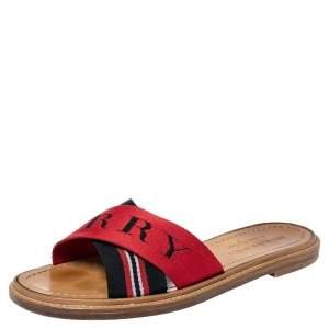 Burberry Red/Black Canvas Foley Logo Stripe Crisscross Slide Sandals Size 37.5