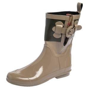 Burberry Green/Beige Rubber Rain Ankle Boots Size 36