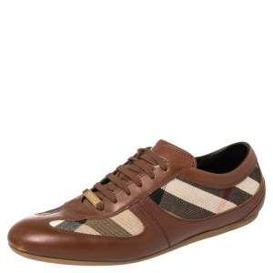 Burberry Beige/Brown Nova Check Canvas And Leather Low Top Sneakers Size 40