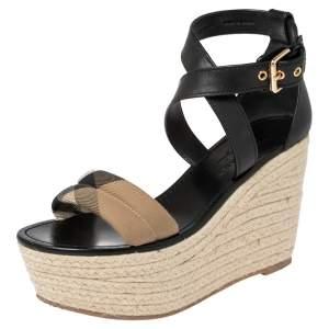 Burberry Black Leather And Nova Check Canvas Wedge Platform Espadrille Sandals Size 38.5