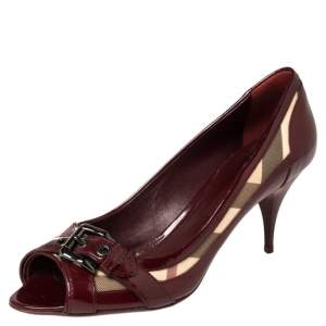 Burberry Burgundy Patent Leather And Nova Check Canvas Buckle Detail Peep Toe Pumps Size 40