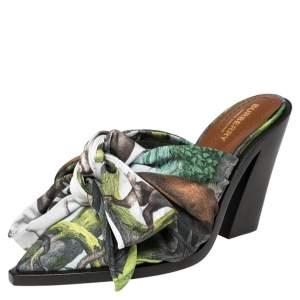 Burberry Multicolor Satin Tillington Mule Sandals Size 38