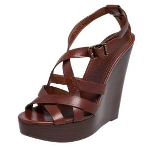 Burberry Brown Leather Strappy Clog Wedge Platform Sandals Size 38