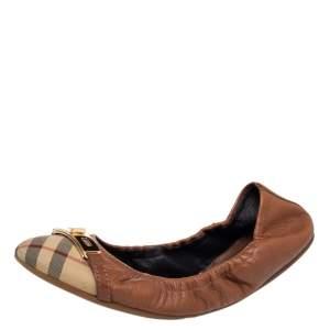حذاء باليرينا فلات بربري جلد وكانفاس مقوى بني مقاس 40