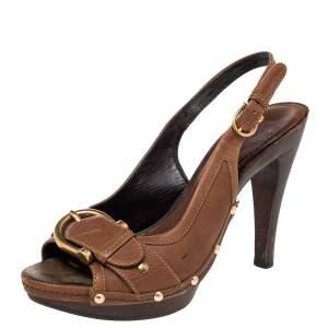 Burberry Brown Leather Buckle Detail Platform Slingback Sandals Size 38