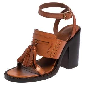 Burberry Brown Leather Bethany Tassel Detail Block Heel Sandals Size 38