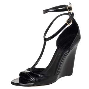 Burberry Black Patent Leather T-Strap Wedge Sandals Size 38