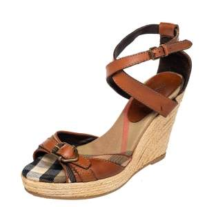 Burberry Brown Leather And Novacheck Canvas Buckle Detail Wedge Espadrille Sandals Size 39