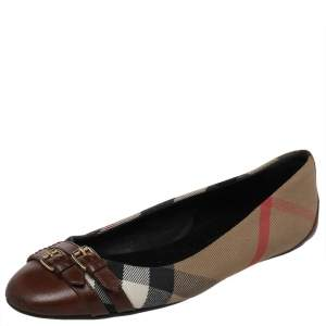Burberry Brown House Check Canvas and Leather Buckle Ballet Flats Size 38.5