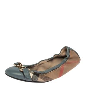 Burberry Blue House Check Canvas and Leather Shipley Scrunch Ballet Flats Size 35