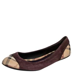 Burberry Beige/Brown Nova Check Coated Canvas And Suede Flats Size 39.5