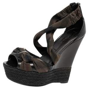 Burberry Black/Brown Check Canvas And Leather Espadrilles Platform Wedge Sandals Size 38.5
