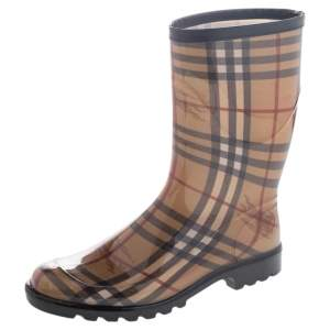 Burberry Beige Haymarket Check PVC Rain Boots Size 40