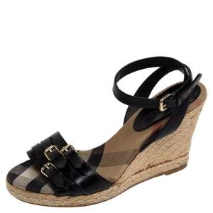 Burberry Black Leather Espadrille Wedge Sandals Size 36